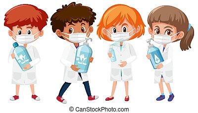 anders, voorwerpen, arts, vrijstaand, set, achtergrond, kinderen, hand houdend, kostuum, witte , sanitizer, product