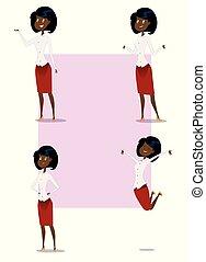 anders, vrouw zaak, het tonen, gebaren, set, spotprent