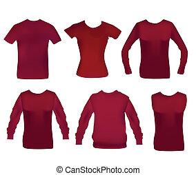 anders, vrouw, zes, verzameling, kleren
