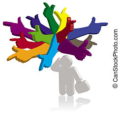 anders, wijzende, denken, kleur, handen, richtingen, man