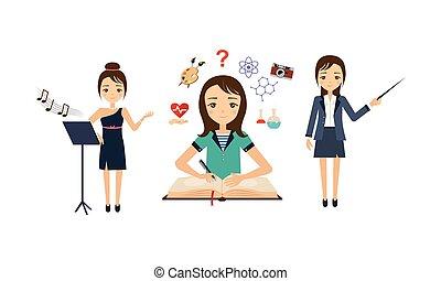 anders, zinger, set, beroepen, illustratie, wetenschapper, vector, achtergrond, witte , leraar, vrouwen