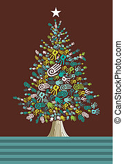 andersartigkeit, baum, weihnachtskarte, hände