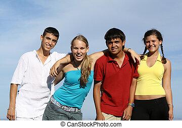 andersartigkeit, begrüßen, studenten, feundliches , gruppe, jungendliche, kinder, oder
