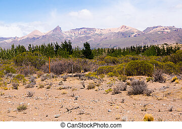 View of Andes Mountains on border with Chile in sunny day, Los Antiguos, Patagonia, Argentina