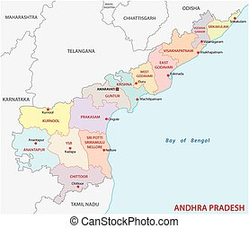 Andhra Pradesh administrative and political map, India