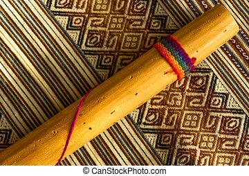 andino, rainstick, textile., musica, cima, peruviano, colorato, vista, concept.