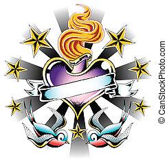 andorinha, e, fogo, coração, emblema