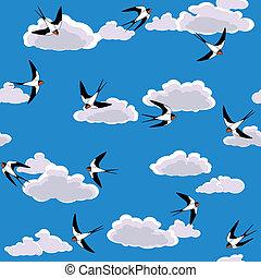 andorinha, voando, céu, seamless