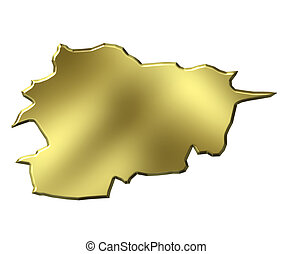 Andorra 3d Golden Map