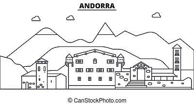 Andorra architecture line skyline illustration. Linear vector cityscape with famous landmarks, city sights, design icons. Landscape wtih editable strokes