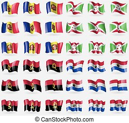 Andorra, Burundi, Angola, Paraguay. Set of 36 flags of the countries of the world. Vector