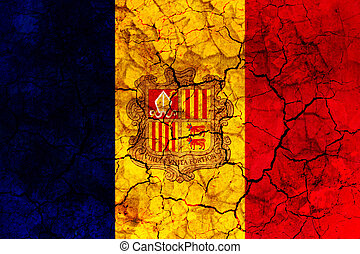 andorra country flag painted on a cracked grungy wall