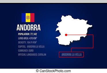 Andorra country infographic with flag and map creative design