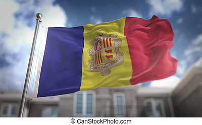 Andorra Flag 3D Rendering on Blue Sky Building Background