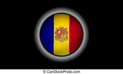 Andorra flag button isolated on black