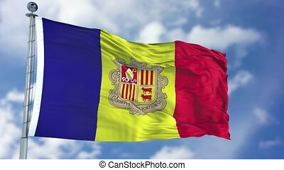 Andorra Flag in a Blue Sky. Use this clip loud and