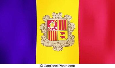 Andorra flag Motion video waving in wind. Flag Closeup 1080p...