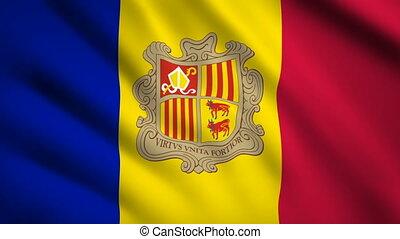 Andorra flag Motion video waving in wind. Flag Closeup 1080p HD footage
