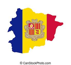 Andorra flag on map