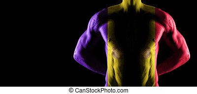 Andorra flag on muscled male torso with abs