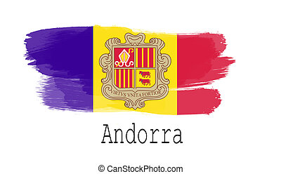 Andorra flag on white background