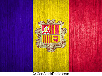 Andorra Flag on wood background