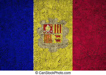 Andorra flag painted on the cracked grunge concrete wall