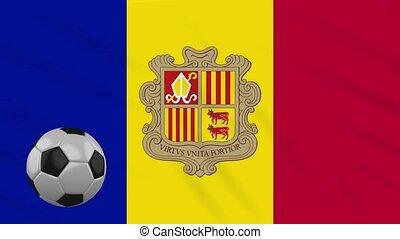 Andorra flag waving and football rotates, loop - Andorra...