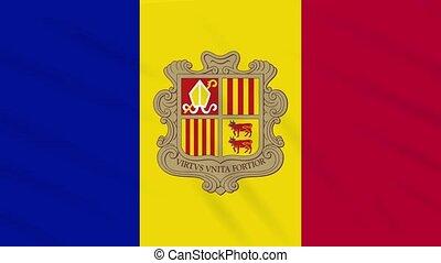 Andorra flag waving cloth background, loop - Andorra flag...