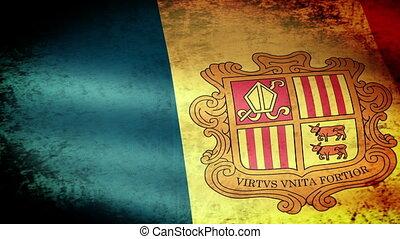 Andorra Flag Waving, grunge