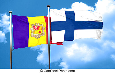 Andorra flag with Finland flag, 3D rendering