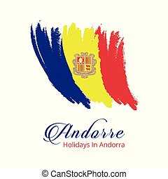Andorra Independence Day Brush Stroke Effect country flag template