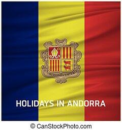 Andorra Independence Day Waving Flag