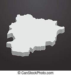 Andorra map in gray on a black background 3d