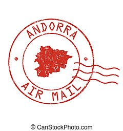 Andorra post office, air mail stamp
