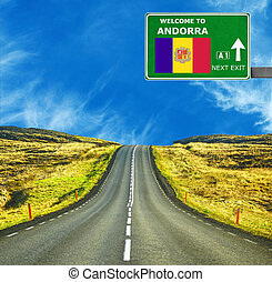 Andorra road sign against clear blue sky