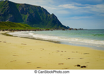 andoya, 海岸, 求助, 沙, bleik, 海滩, norway, 海