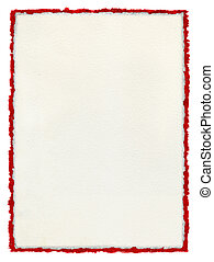 andrajoso, papel, deckled, rojo, border.