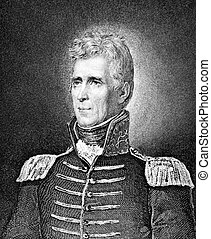 Andrew Jackson (1767-1845) on engraving from 1859. 7th President of the United States during 1829–1837. Engraved by unknown artist and published in Meyers Konversations-Lexikon, Germany,1859.