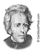 Andrew Jackson portrait on twenty US dollars banknote....