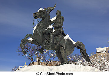Andrew Jackson Statue Pigeon President's Park Lafayette Square After Snow Washington DC Built Made in 1850 Clark Mills Sculptor