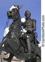 Andrew Jackson Statue President's Park Lafayette Square After Snow Washington DC Built Made in 1850 Clark Mills Sculptor