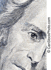 Andrew Jackson's twenty dollars portrait - Close-up of...