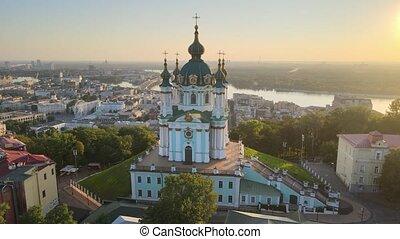 andrew's, aérien, rue., vue, morning., église, ukraine, kyiv