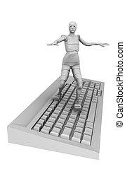 androïde, informatique, femme, clavier