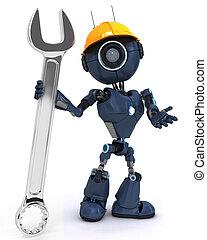 android, aannemer, moersleutel