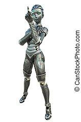 android, acenando, -, femininas