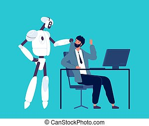 Android and human. Robot kick away business person from office workspace artificial intelligence future job vector concept