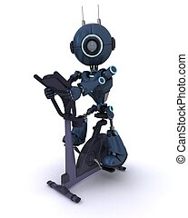 Android at the gym on  an exercise bike
