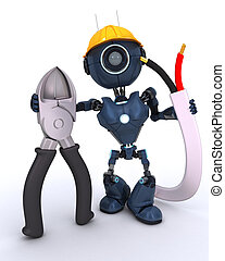 android builder with wire cutters - 3D Render of an android ...